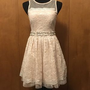 Nude Macy's Skater Style Dress with Jewls
